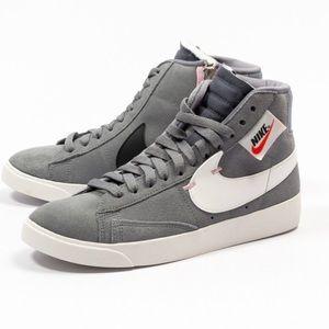 Nike blazer mid rebel grey white shoes zipper